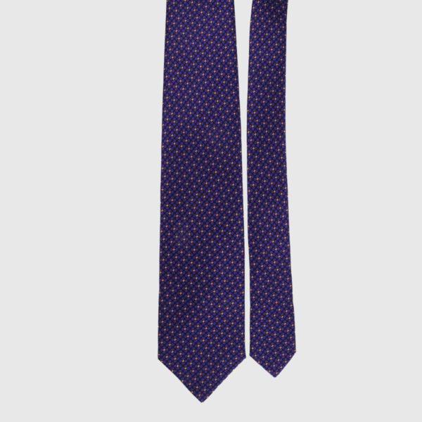 Cravatta di seta in melanzana Micro