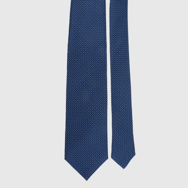 Cravatta in seta in micro ceruleo