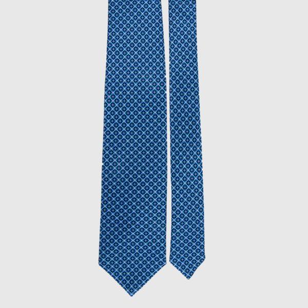 Silk Necktie in Azure Micro