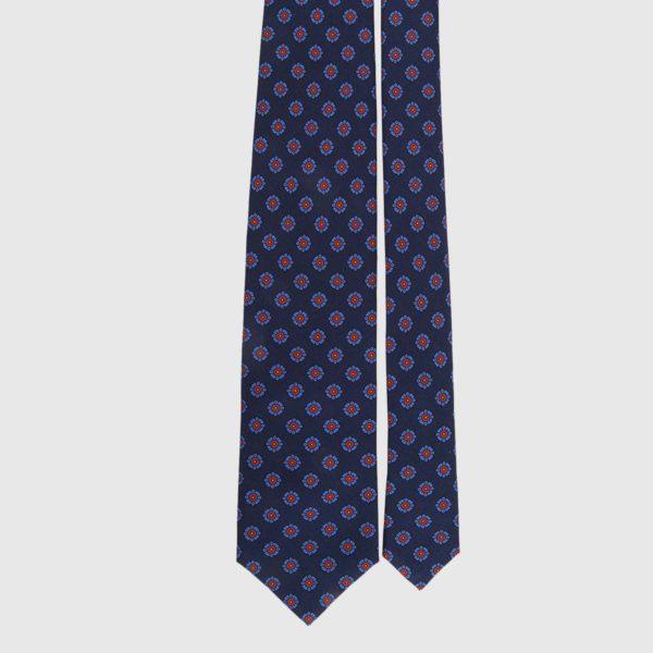 Cravatta di seta in marinaio e medaglione cremisi