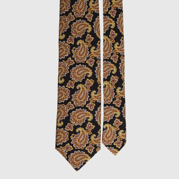 Cravatta di seta in bronzo e paisley nero