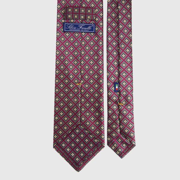 Cravatta di seta in micro scarlatto e giallo