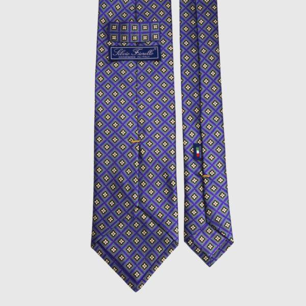 Cravatta di seta in micro viola e giallo