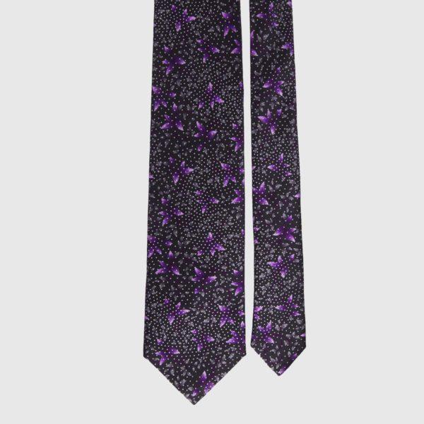 Cravatta di seta in lavanda floreale