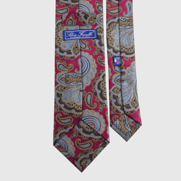 Cravatta di seta in Paisley rosso e blu