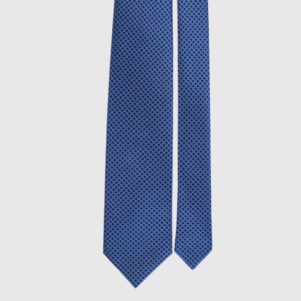 Cravatta in seta in micro cobalto