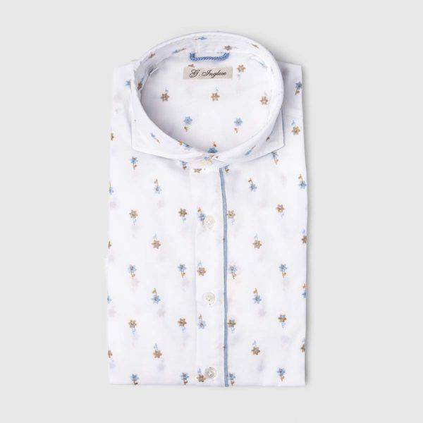 Camicia Gianni Agnelli con design floreale