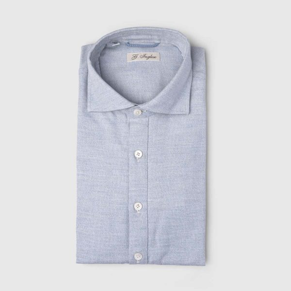Collared Brushed Cotton Shirt in Light Blue