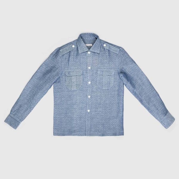 Jacquard Linen Overshirt in Light Blue