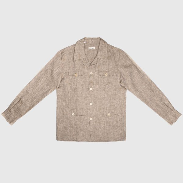 Sahariana Dress Shirt in Hazelnut Linen
