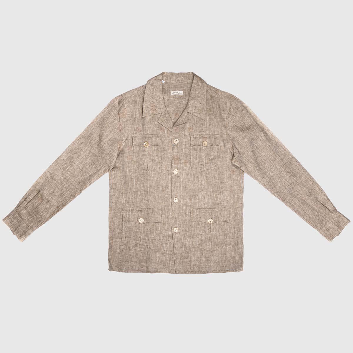 Sahariana Dress Shirt in Hazelnut Linen