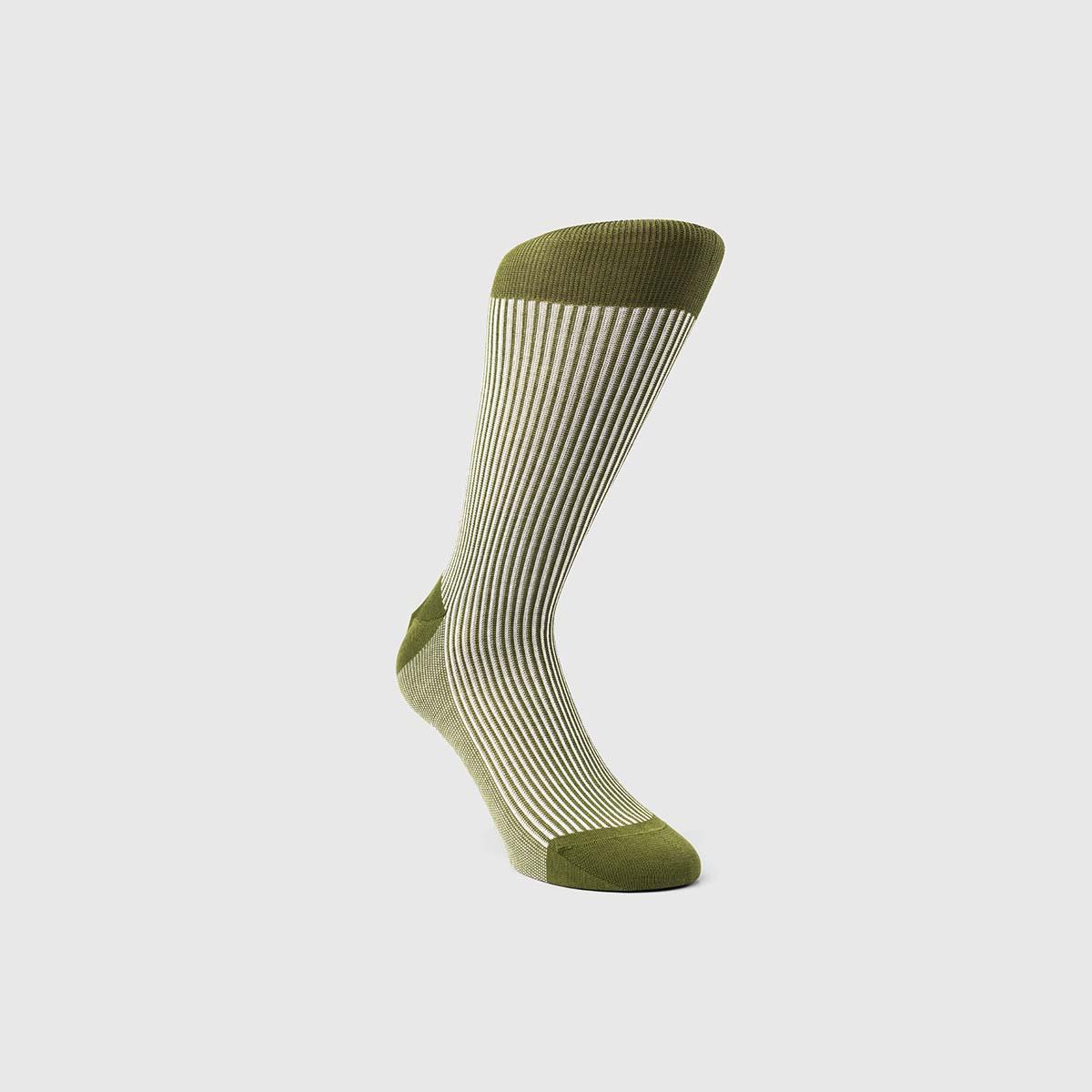 Bresciani 1970 Cotton Socks in Green & White