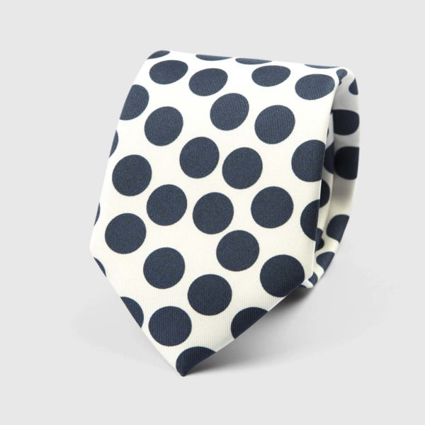 Spotted Three Fold Necktie in White & Blue