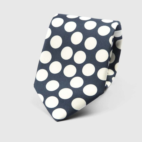 Spotted Three Fold Necktie in Blue & White