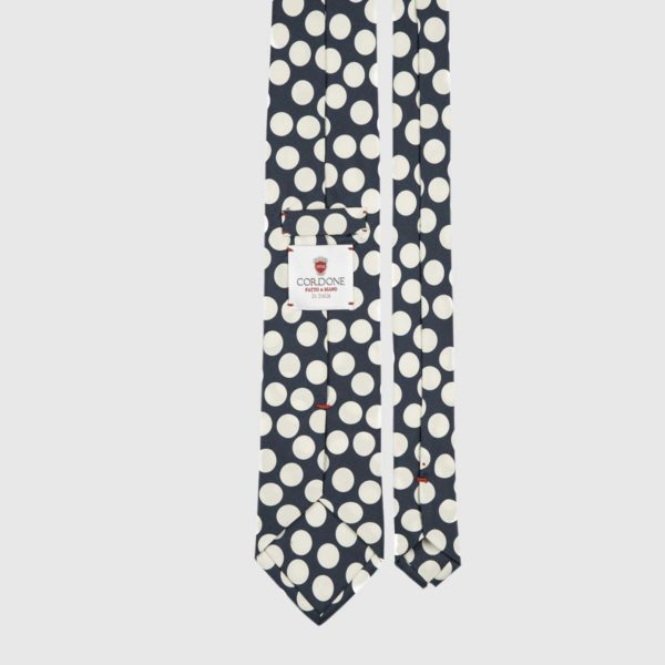 Spotted Three Fold Necktie in Blue & White
