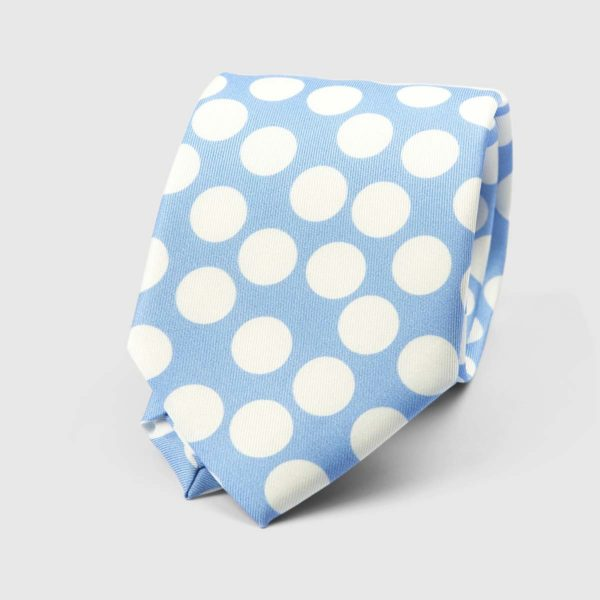 Spotted Three Fold Necktie in Azure & White