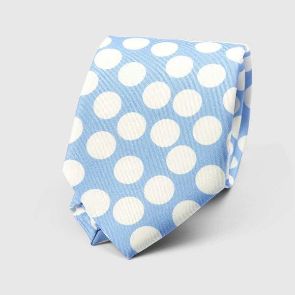 Spotted Three Fold Necktie in Azure & White
