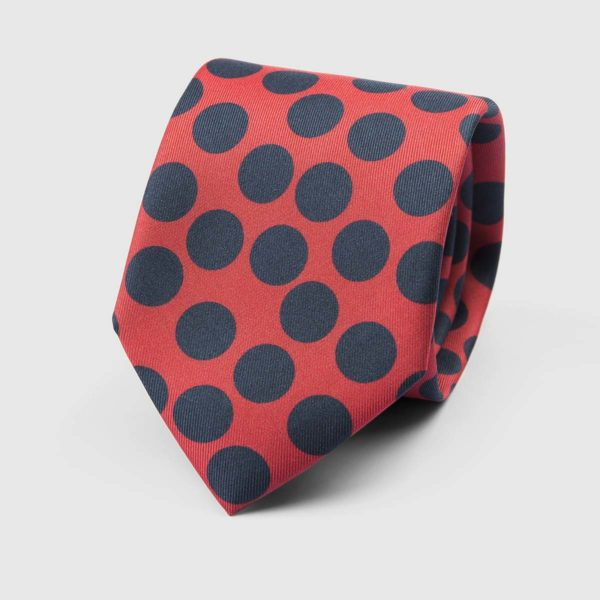 Spotted Three Fold Necktie in Red & Blue