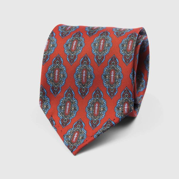 Medallion Seven Fold Necktie in Red & Azure