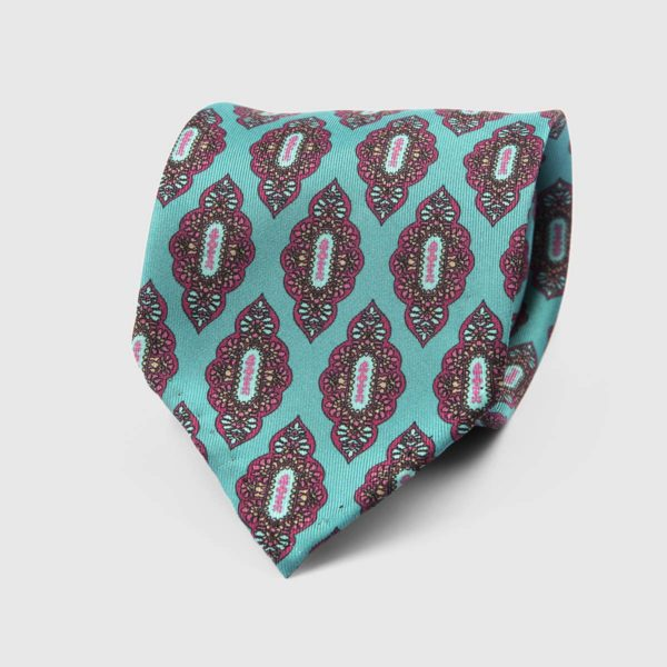Medallion Seven Fold Necktie in Turquoise & Pink