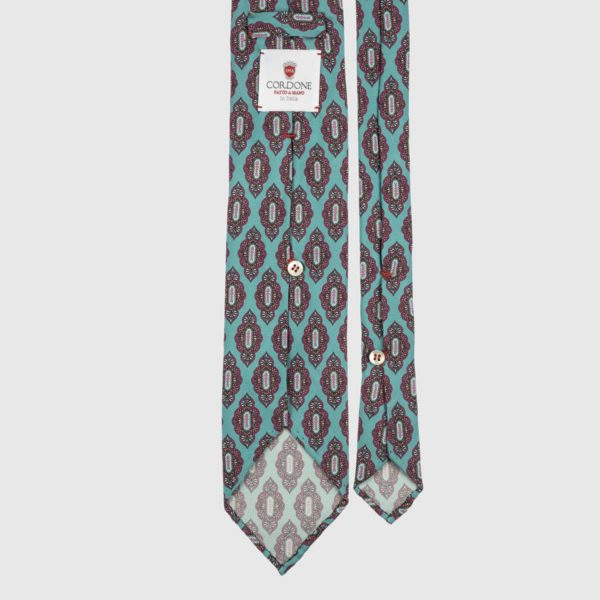 Medallion Seven Fold Necktie in Turquoise & Pink