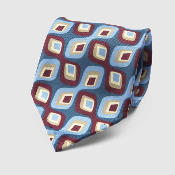 Abstract Three Fold Necktie in Blue, Azure, & Bordeaux