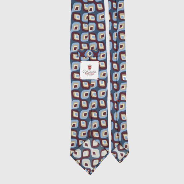 Abstract Three Fold Necktie in Blue, Azure, & Bordeaux