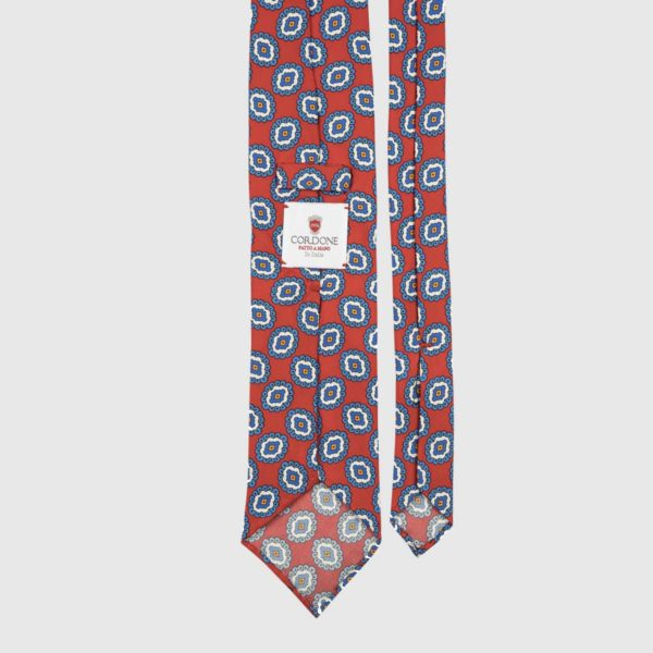 Ivy League Three Fold Necktie in Red & Azure