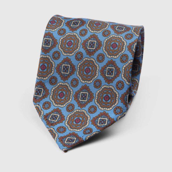 Diamante Seven Fold Necktie in Azure & Brown