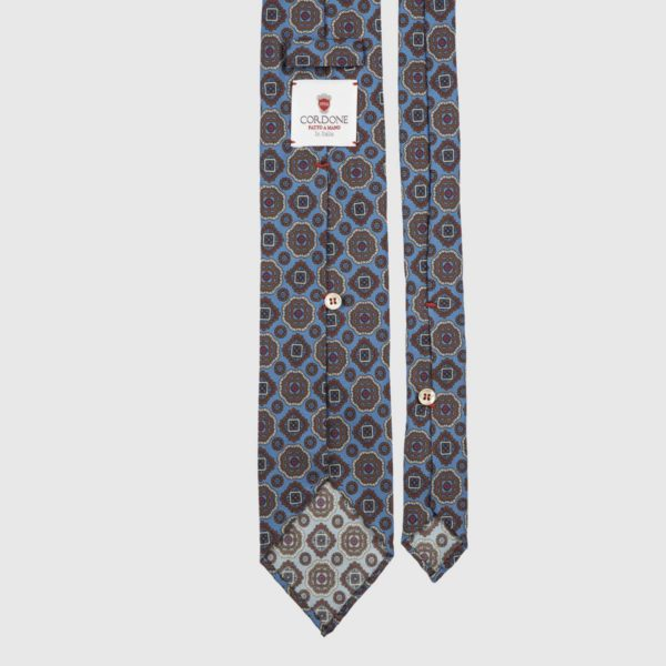 Diamante Seven Fold Necktie in Azure & Brown