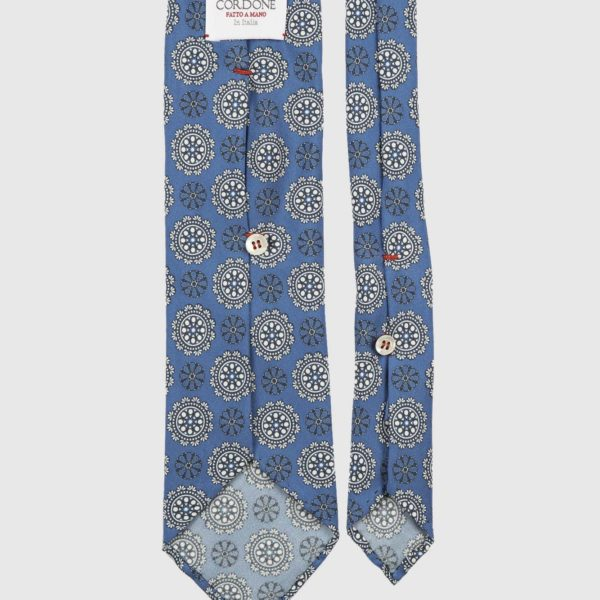 Commander Seven Fold Necktie in Azure & White