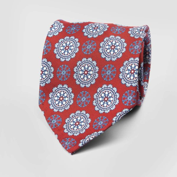 Commander Seven Fold Necktie in Red & White