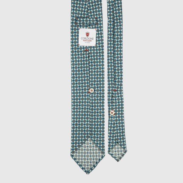 Fleur Seven Fold Necktie in Green & White