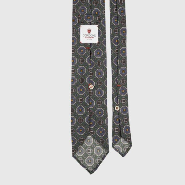Diamante Seven Fold Necktie in Green & Azure