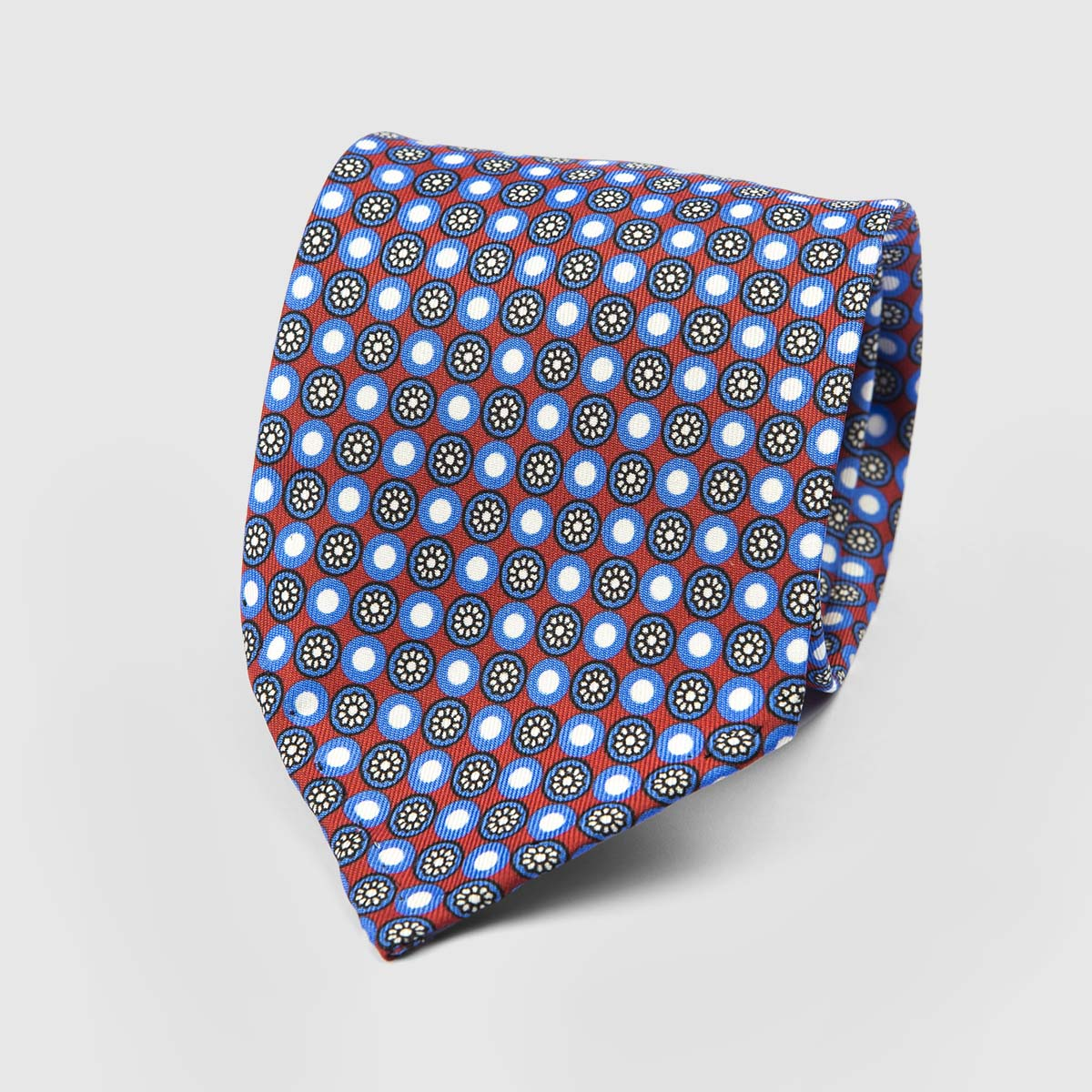 Fleur Seven Fold Necktie in Red, Azure, and White