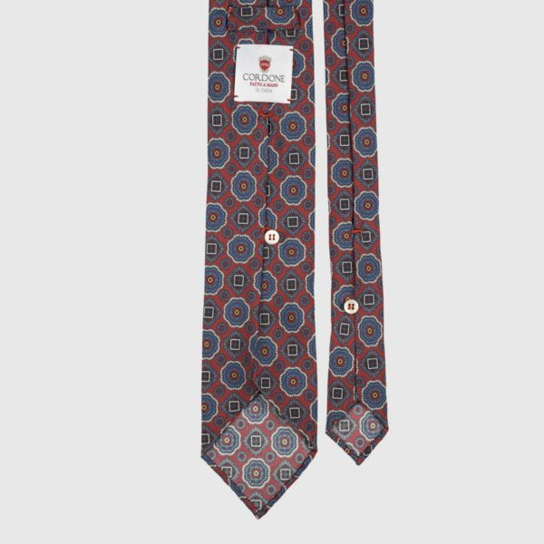 Diamante Seven Fold Necktie in Red, Azure, & Gold
