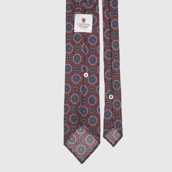 Diamante Seven Fold Necktie in Red, Azure, & Gold