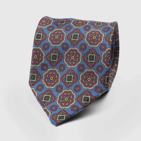 Diamante Seven Fold Necktie in Azure, Claret, & Gold