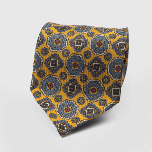 Diamante Seven Fold Necktie in Yellow & Azure
