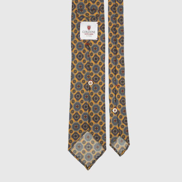 Diamante Seven Fold Necktie in Yellow & Azure