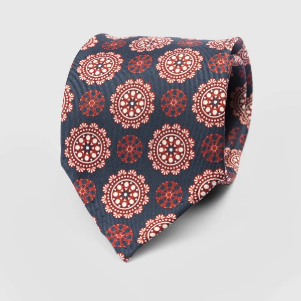 Commander Seven Fold Necktie in Blue & Red