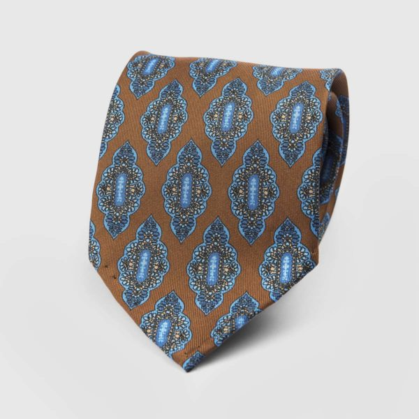Medallion Seven Fold Necktie in Brown & Azure