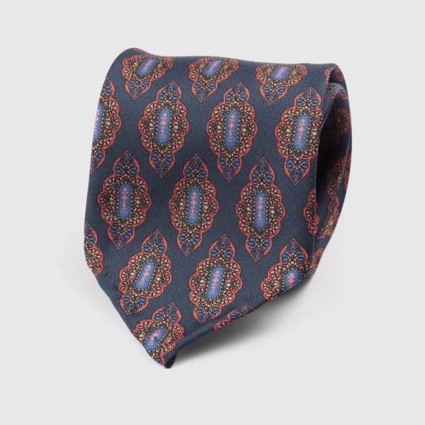 Medallion Seven Fold Necktie in Blue, Red, & Azure