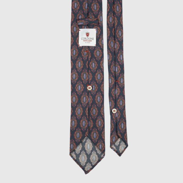 Medallion Seven Fold Necktie in Blue, Red, & Azure