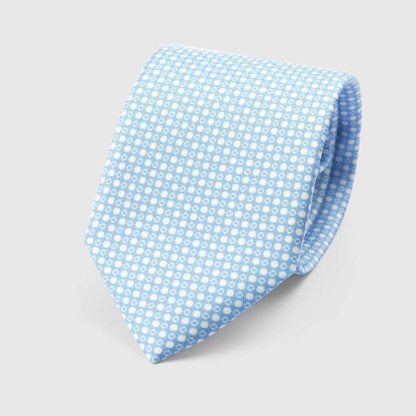 Particle Three Fold Necktie in Azure & White