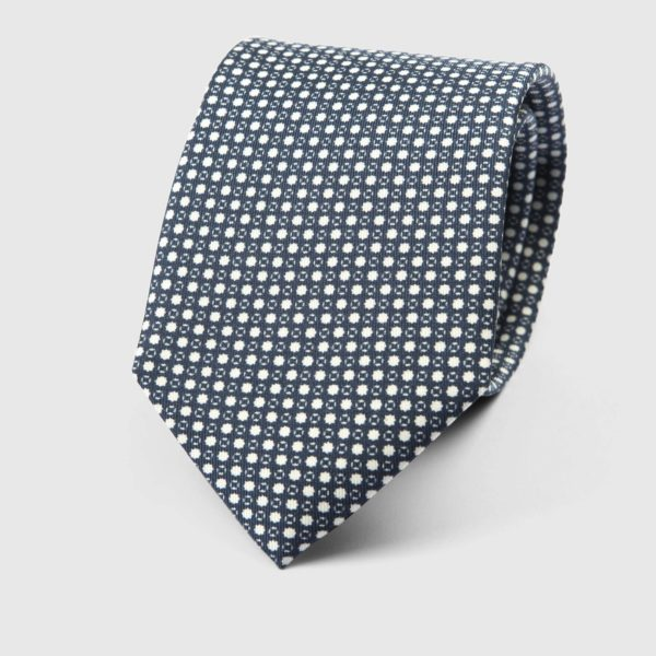 Particle Three Fold Necktie in Blue & White