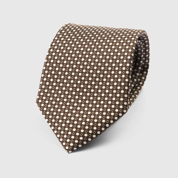 Particle Three Fold Necktie in Brown & White