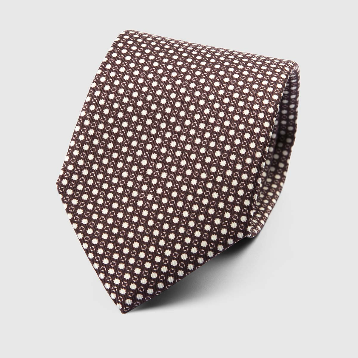 Particle Three Fold Necktie in Bordeaux & White