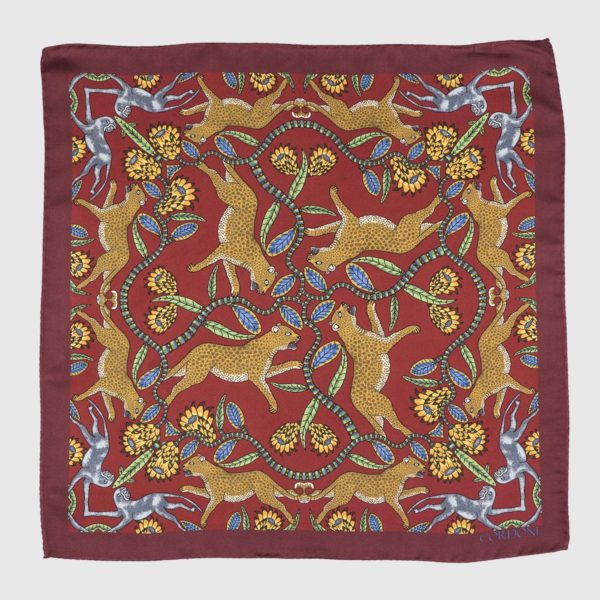 Panthera Silk Pocket Square in Bordeaux & Gold