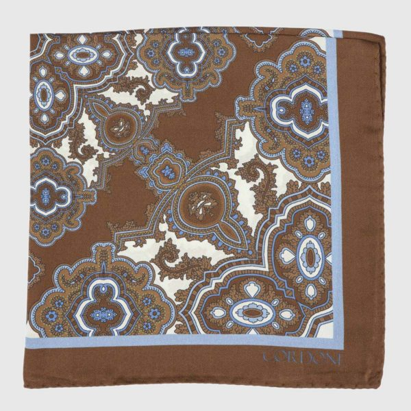 Tilework Silk Pocket Square in Brown & Azure